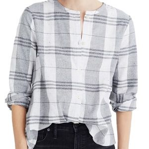 Madewell gray plaid collarless button down L